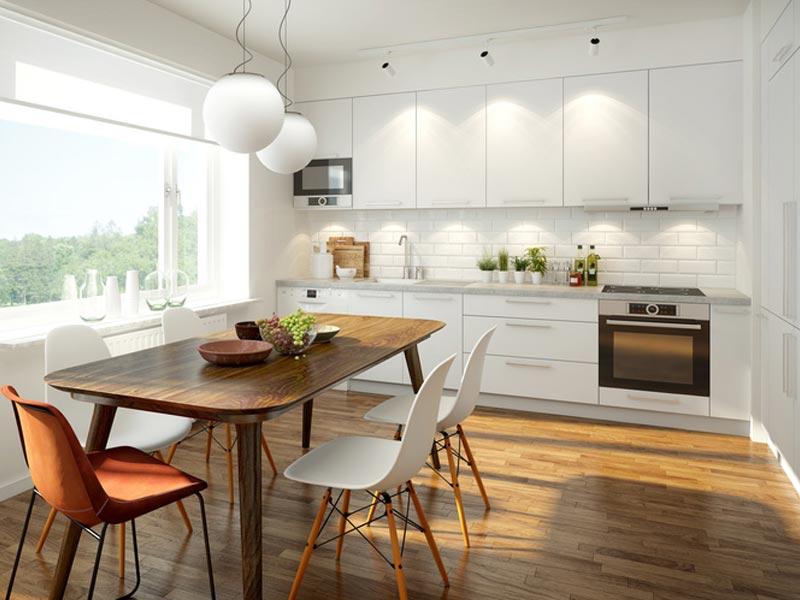 Associer le blanc et le bois pour une cuisine moderne