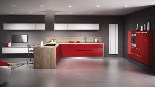 Une cuisine rouge cerise par Distac - Cuisiniste Simon Mage