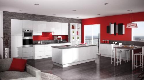 Une cuisine rouge tomate par Distac - Cuisiniste Simon Mage